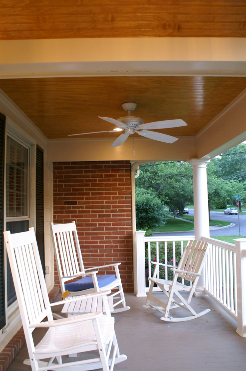 Stylish ceiling fans for outdoor and indoor homesfeed simple porch idea with some white rocking chairs and white ceiling fan and also white aloadofball Gallery