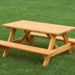 simple wood  picnic table with chairs without back feature