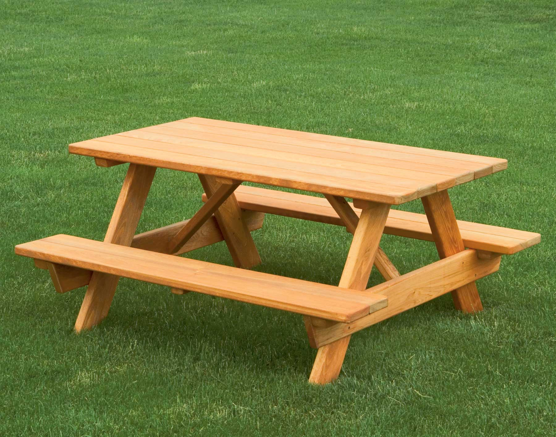 simple wood picnic table with chairs without back feature - Wood Picnic Table