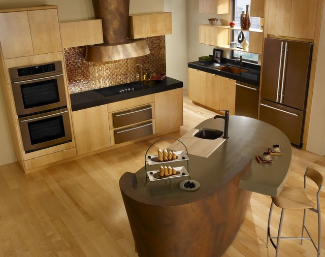 nice Oil Rubbed Bronze Appliances Kitchen #6: small and minimalist kitchen set with oil rubbed bronze kitchen appliances  and solidwood floors a unique