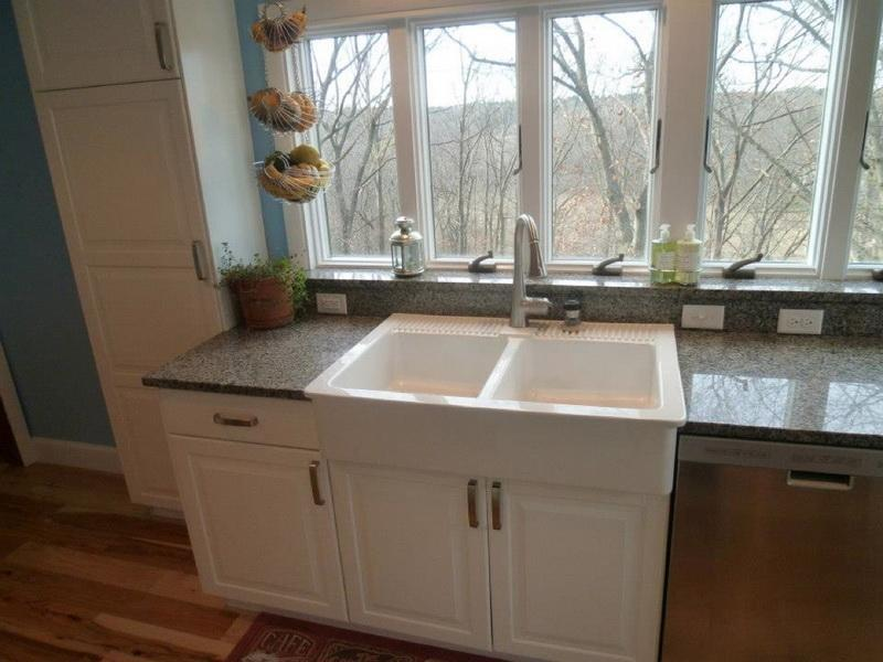 Small Kitchen Set With Double Farm Sinks In White Beautiful And Luxurious  Marble Countertop Hanging Decorative