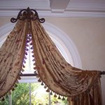unique curtain installation for arched window a unique bronze draper rod design