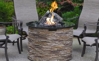 unique fire pit table idea for outdoor area with stylish outdoor chairs