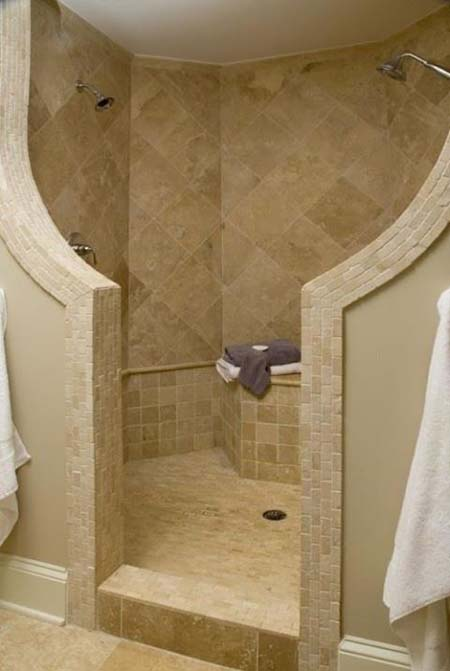 Unique Walk In Shower Without Door A Shower Head Appliance Light Brown Diamond