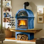 wonderful-contemporary-nice-adorable-modern-wood-burning-stove-with-blue-large-concept-with-small-wood-storage-under-the-stove-with-mounted-chimney