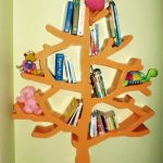 wonderful-cool-adorable-nice-tree-shaped-bookshelf-with-orange-coloring-concept-for-kids-bookshelf-design-for-kids-room
