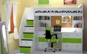 wonderful-cool-adorable-simple-Nice-Loft-Bed-with-Desk-Underneath-with-green-nuance-and-nice-stair-design-with-white-color-728x546