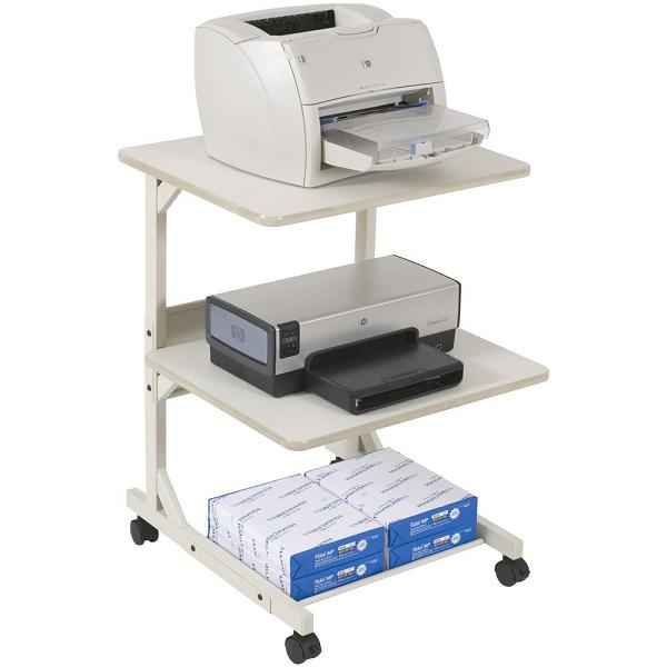 wonderful-cool-nice-adorable-attractive-dual-laser-printer-stand-with-white-coloring-concept-and-has-paper-rack-with-legs-and-four-wheels