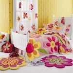 wonderful-nice-coolest-attractive-Rugs-Design-For-Kids-Room-Flowery-Theme-With-Yellow-Wall-for-daughter-with-pink-coloring-design