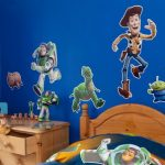 wonderful-perfect-nice-adorable-cute-toy-story-bedroom-decoration-with-blue-bakcground-wall-and-nice-pictures-of-woody-buzz-and-rex-with-nice-small-bed