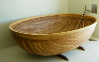 wood large soaking tub for two persons with water sprayer fixture
