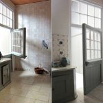 Dutch door hardware with glass panel with trims in top section a kitchen set