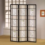 Ikea oriental room divider with wood black frame
