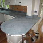 L shape kitchen countertops made from black soapstone