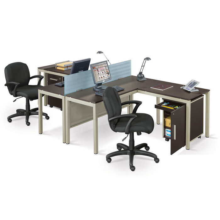 Two person workstation for office and home office homesfeed - Computer desk for two people ...