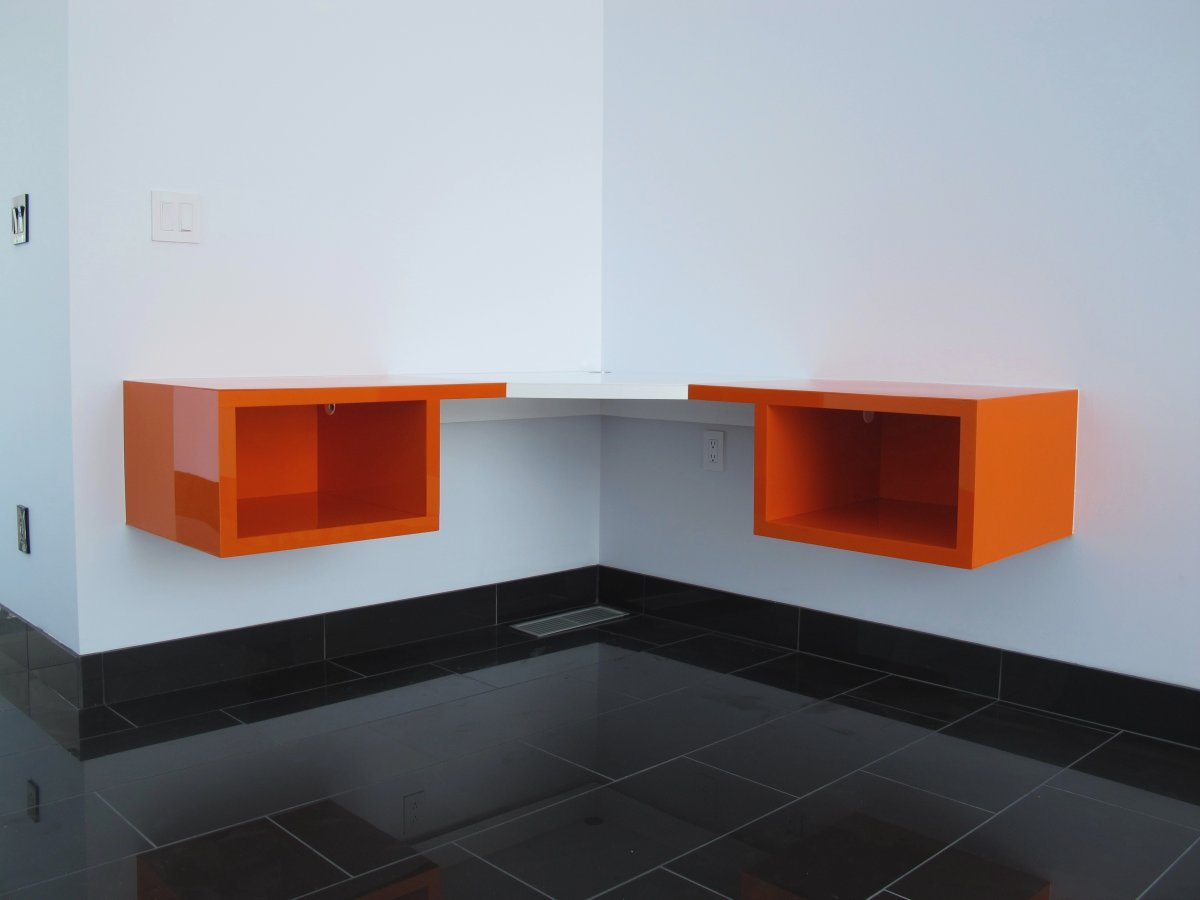 Floating Computer Desk floating desk with storage. small space innovations floating desk