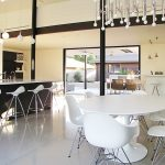Onda barstool for modern kitchen elegant and luxurious dining furniture unique white pendant lights white porcelain floors