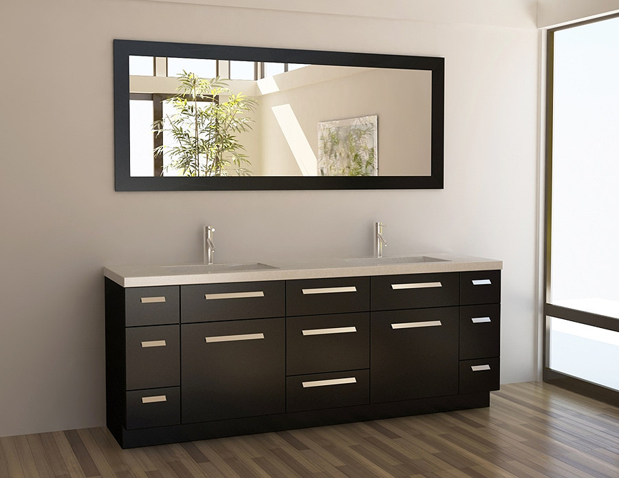 A Contemporary 48 Inches Bathroom Vanity In Black With Double Square Sinks  And Double Bronze Faucets