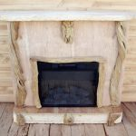 a gas fireplace with driftwood mantle in rustic style