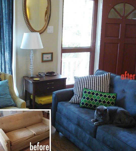 Cat Proof Furniture Ikea HomesFeed : a new coat sofa before and after remodel to anticipate the cat s claws a wood cosnole with drawers a table lamp an oval decorative mirror from homesfeed.com size 540 x 601 jpeg 65kB