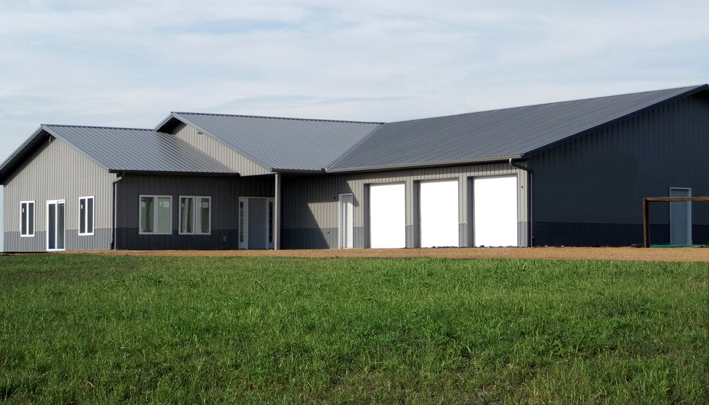 A Pole Barn Integrated With Private House Metal Siding And Roofing Three Garage