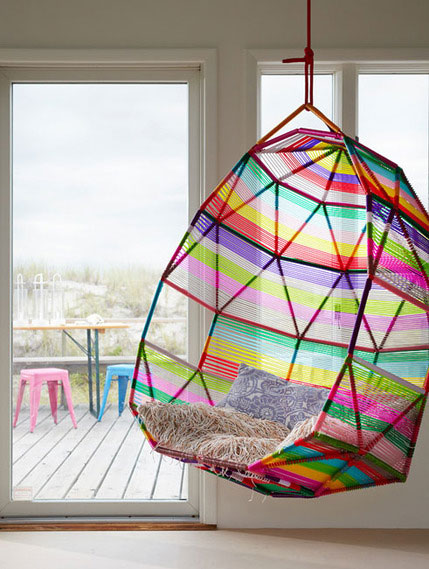 Delicieux A Rainbow Hang Chair With Decorative Pillow
