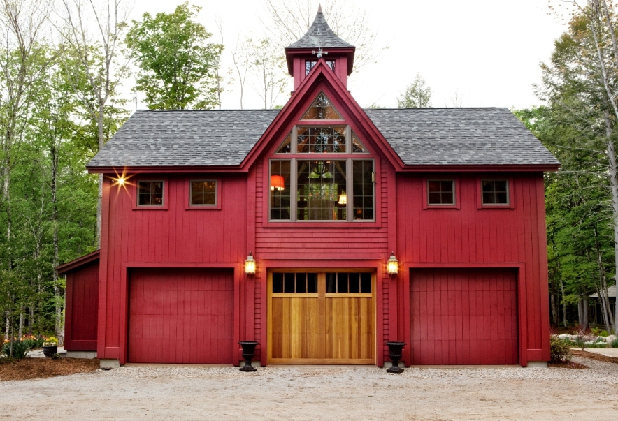 A Unique Red Private Pole Barn House With Roof Castle Look Like And Metal  Siding. Contemporary ...
