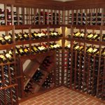 adorable corner wine cellar design with stunning wine racks with small slot and diagonal shape rack with brick flooring design