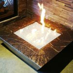 adorable in ground fire pit design beneath textured stone wall idea upon concrete  floor with painted concrete tub