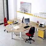 adorable modern beige double sided desks design with red black swivel chairs and stainless steel ple with yellow storage and wall unit and palette and drapped window