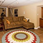 adorable-nice-cool-great-Adorable-Wood-Look-Tiles-Review-on-Floor-with-tiles-design-and-round-soft-carpet-for-large-basement
