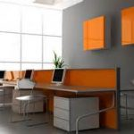 adorable orange wall storage and computer desk panel feats with unique iron chairs and file cabinet for enthralling interior design office