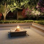 adorable outdoor courtyard idea with beautiful landscape and concrete patio and in ground fire pit design surrounded with shrub decoration