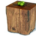 adorable rustic natural tree stumps side table design in boxy model with green apple on the countertop