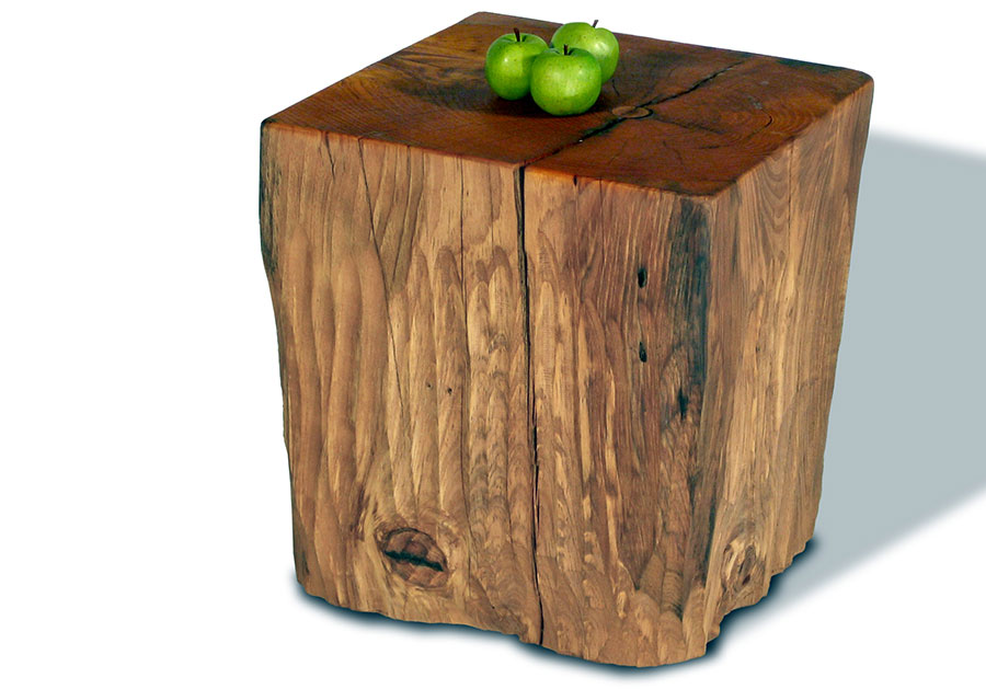 Genial Adorable Rustic Natural Tree Stumps Side Table Design In Boxy Model With  Green Apple On The