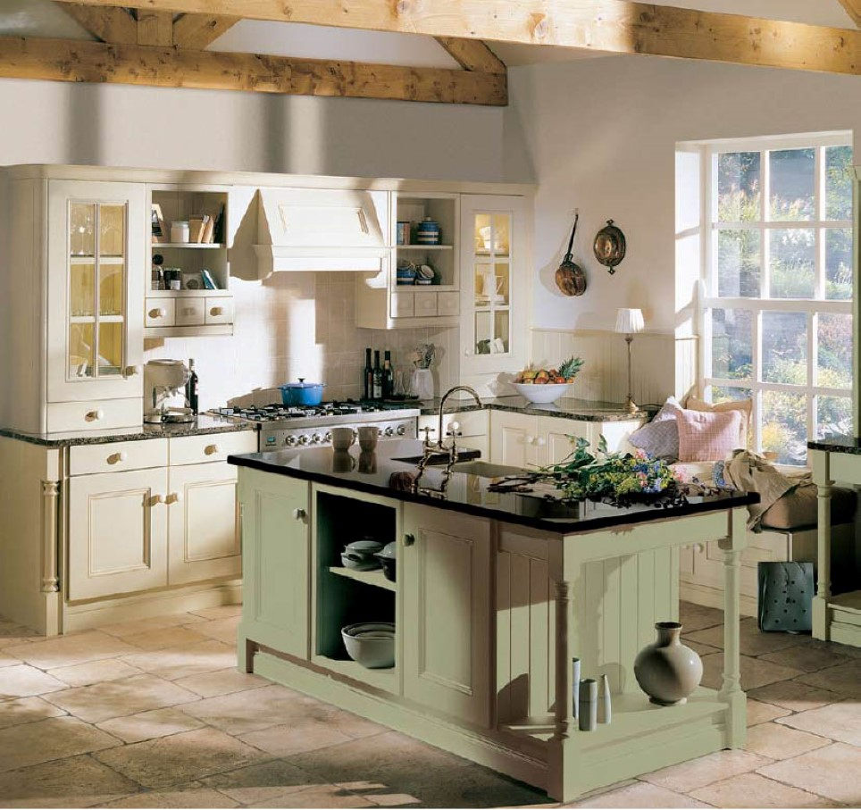 Adorable White Cabinet Design With Cream Coat For Kitchen Design With Glass  Storage And Green Kitchen