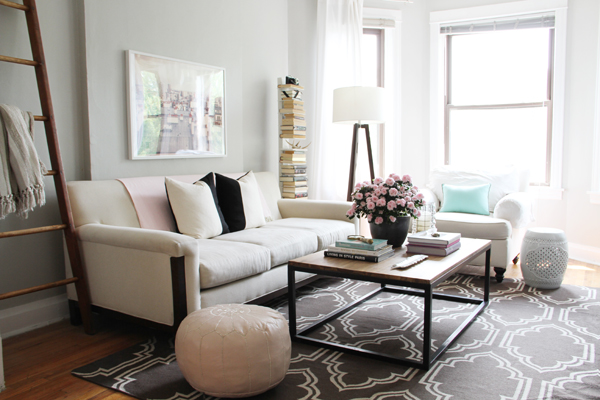 adorable white modern living space design with white seating and metal  rectangle coffee table upon black - Joss And Main Rug Adds Luxurious Wrap To Every Interior HomesFeed