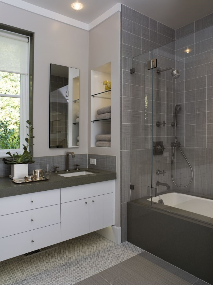 Adorable White Small Bathroom Design With Luxurious Bathtub And Cool Shower  Head Aside White Floating Vanity
