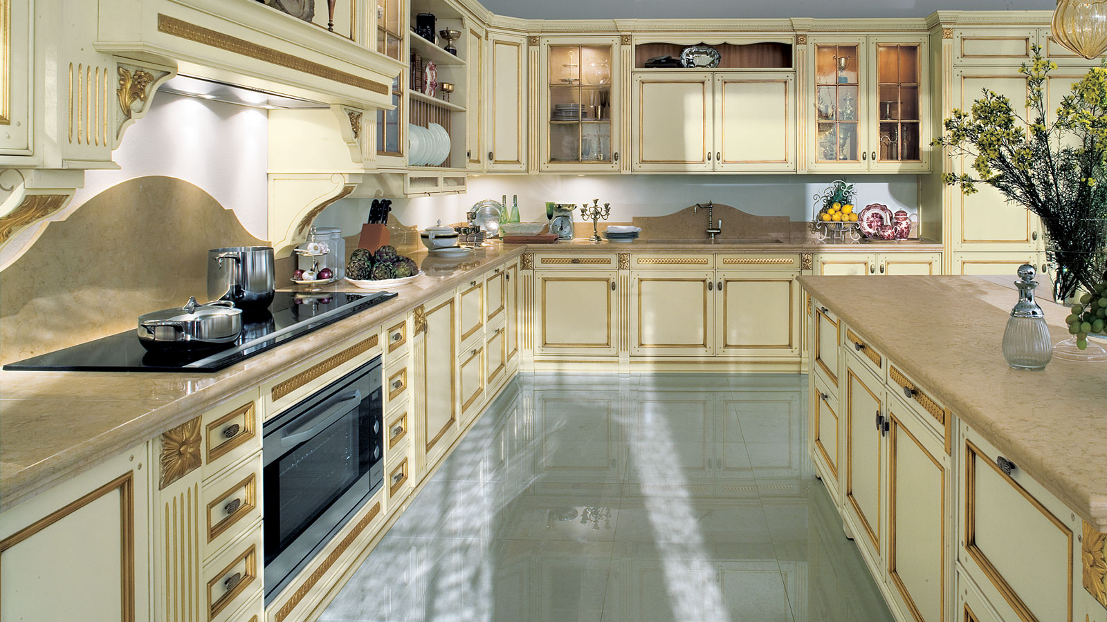 Amazing Antique Kitchen Cabinet Design With Smooth Cream Color And Flashing  Brown Line Accent With Wooden