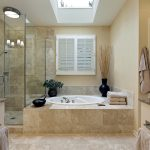 Amazing Bathroom Remodeling With Shower Glass Door And Bath Tub And Vase Plus Vanity Units With Natural Tile Floor