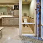 amazing master bathroom remodel with bathtub and modern wooden vanity units plus sink and mirror and toilet and pretty decorative tree