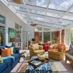 amazing modern sun porch design with glass skylight and blue sofa ans yellow couch and blue patterned coffee table and orange green cushions upon patterned area rug