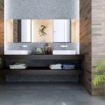 amazing natural bathroom design with bamboo wall design and floating wooden large vanity beneath modern triple mirrors upon grey flooring style