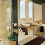 appealing best bathroom remodels visualized with gorgeous potted orchid and cute white tub and vessel sinks plus catchy shower design