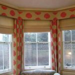 attractive-cool-nice-classic-drapes-for-bay-window-with-white-red-round-decoration-concept-for-three-doors-window-design
