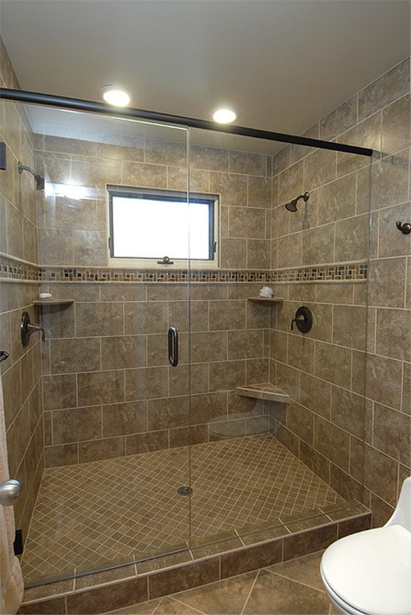 Modern and classic walk in shower without doors homesfeed Shower tile layout