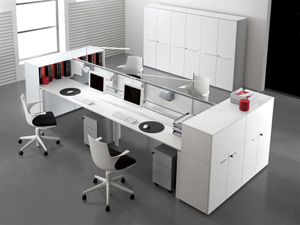 Awesome Black And White Two Sided Desk Design With Modern Unique Swivel  Chair Design With Computer