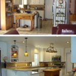 awesome kitchen renovations before and after with white wooden cabinets plus countertop combined with table at the center plus brick back splashes and pendant lighting