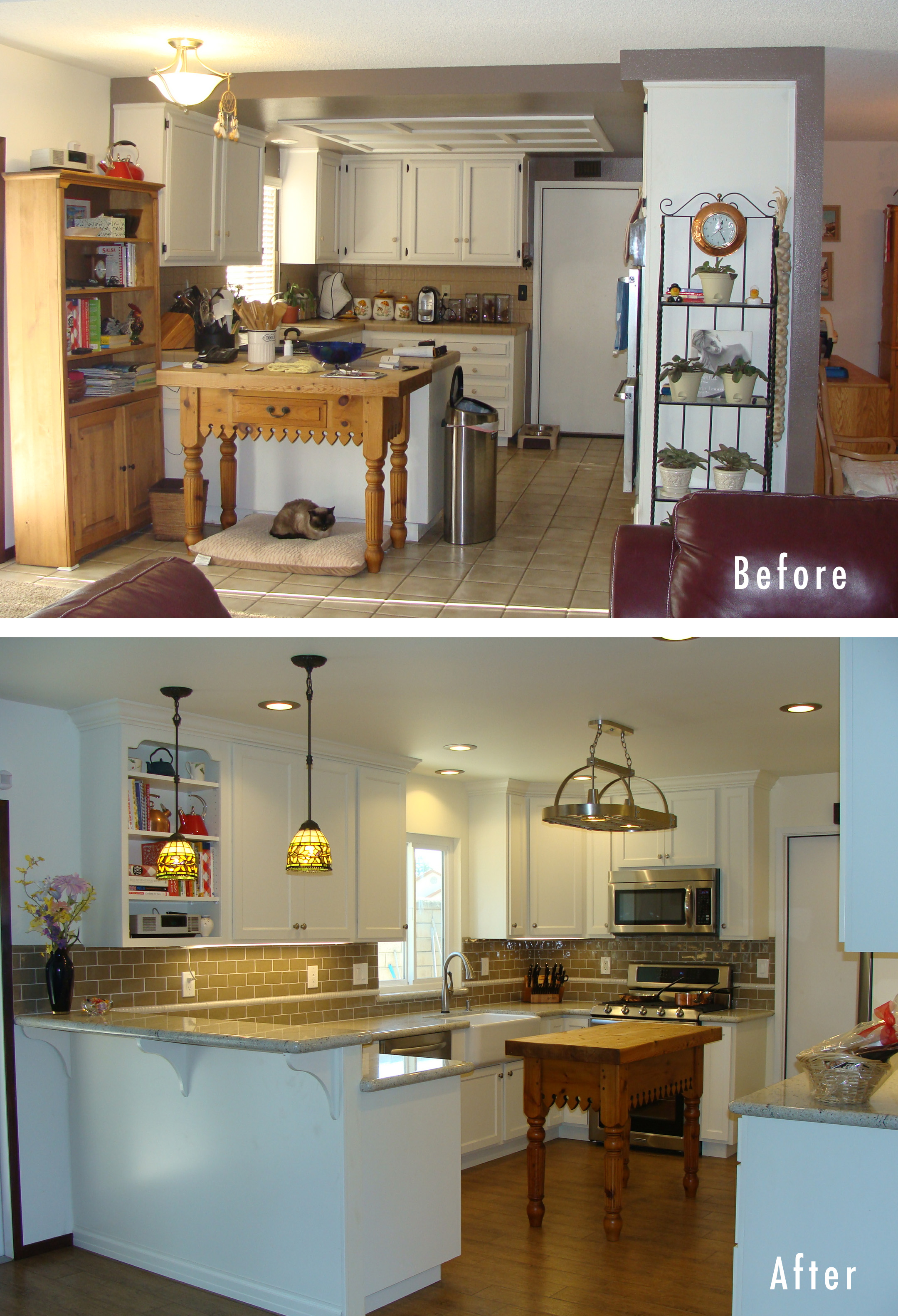 awesome kitchen renovations before and after with white wooden cabinets plus countertop combined with table at