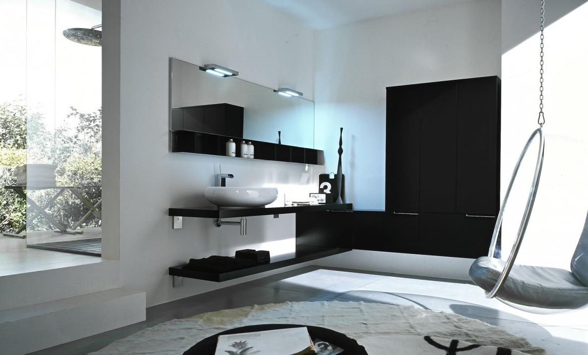 awesome modern bathroom design with floating vanity design in black color with large wall mirror and